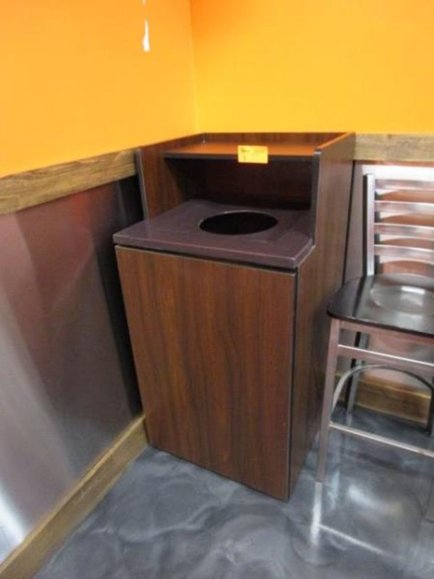 Lot 8 - Laminate Trash Receptacle w/ Rubbermaid Plastic Can