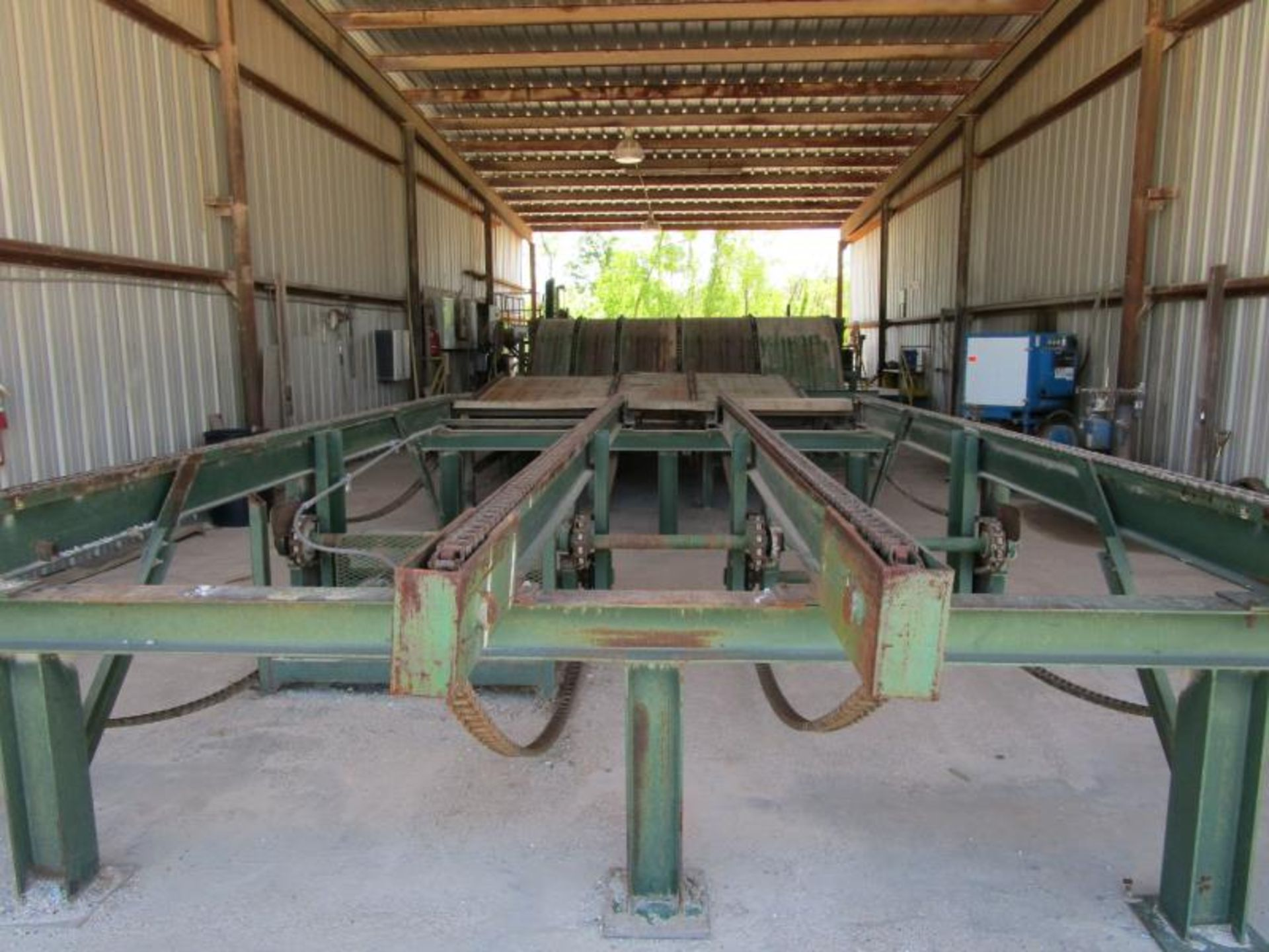 Lot 21 - Board Chain Deck/ Stacker, 50,000 Board Feet/ per day with custom controller controls/ Automation,