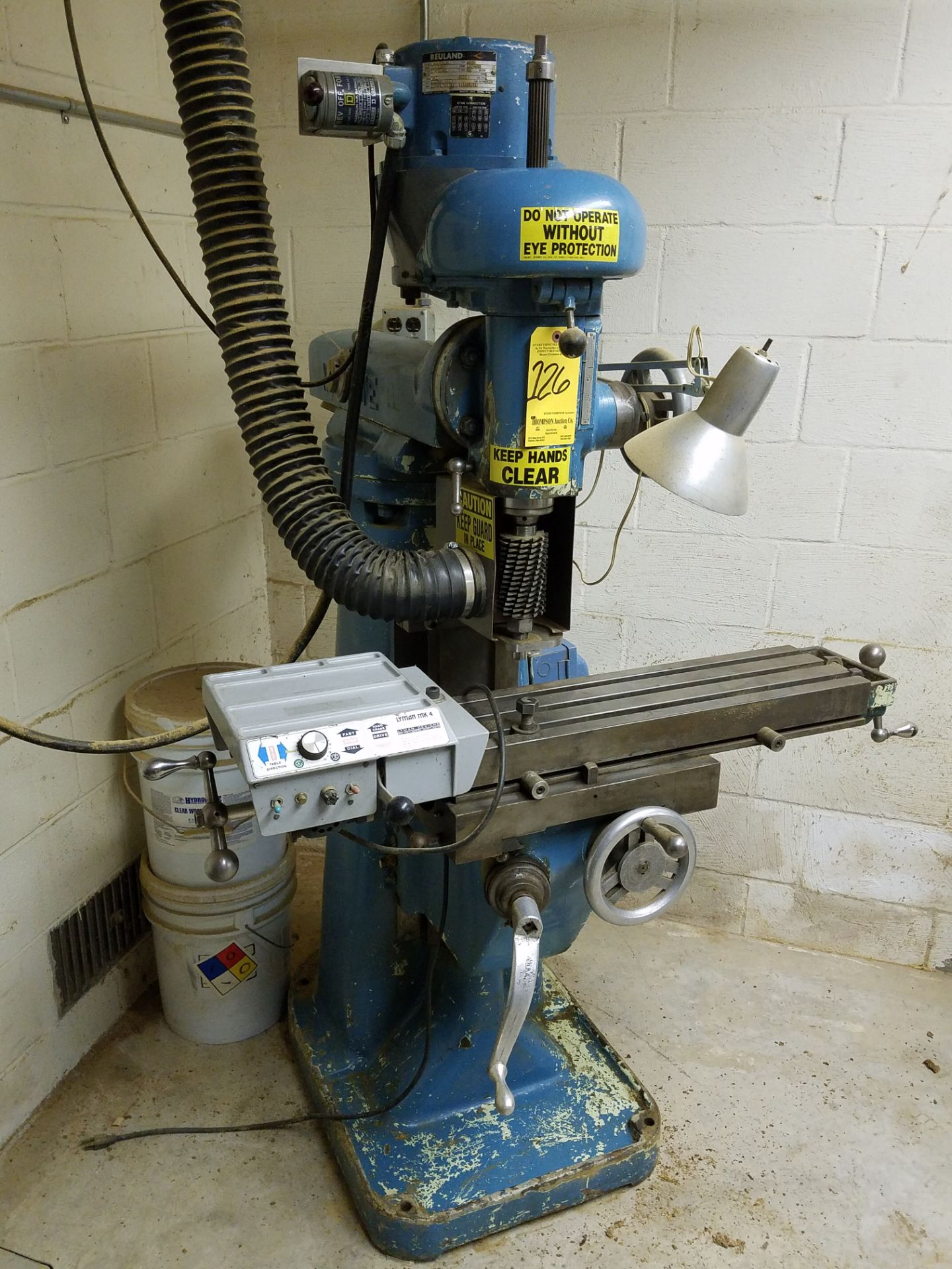 Lotto 126 - U.S. Machine Tool/Millrite Model MVN Vertical Mill, 1 HP, Lyman Power Table Feed, Loading Fee $50.00