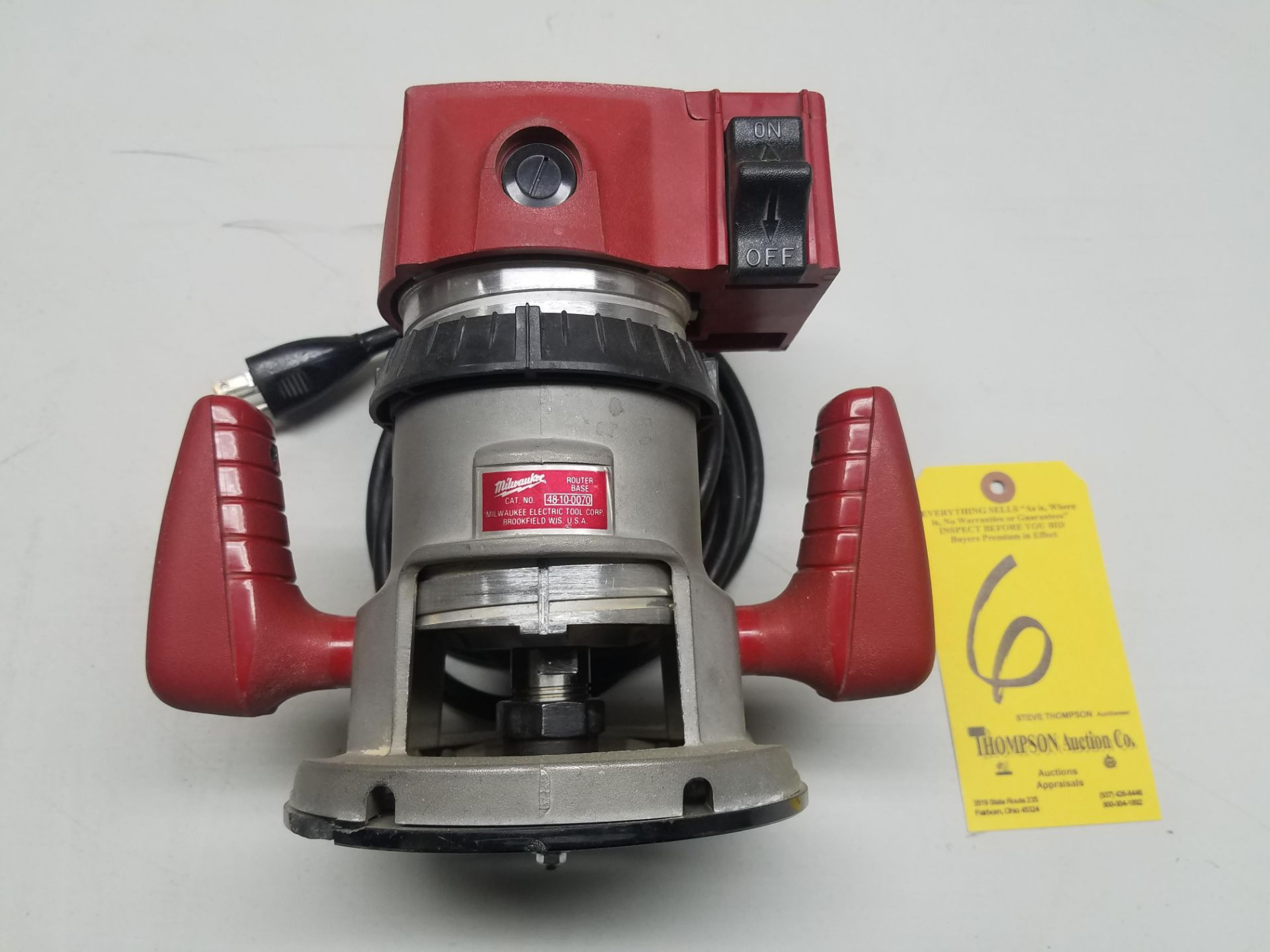 Lot 6 - Milwaukee 48-10-0070 Router Base, with Milwaukee 5650 Router Motor, 24,500 RPM