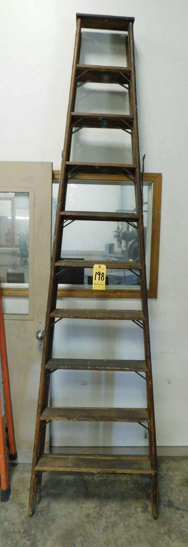Lot 198 - Wooden Step Ladder, 10 Ft.