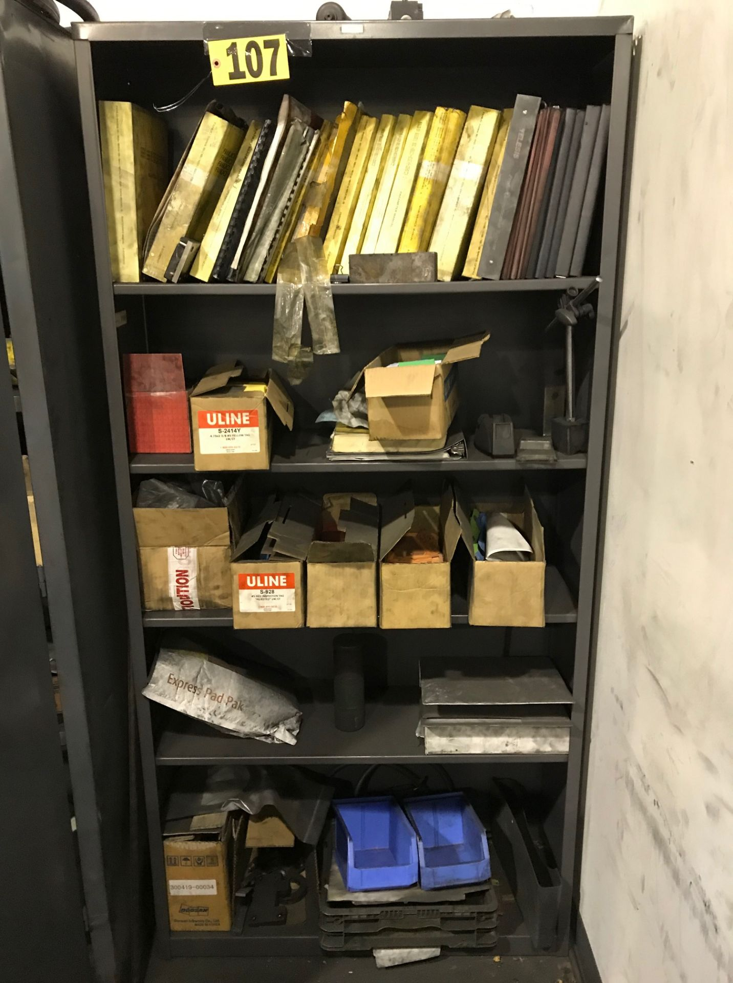 Lot 107 - Hon metal shelf & contents: Lg. selection of tooling supplies