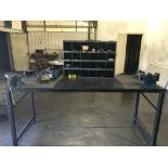 Steel work bench w/ vises 7ft x 32in, tool cabinet & contents