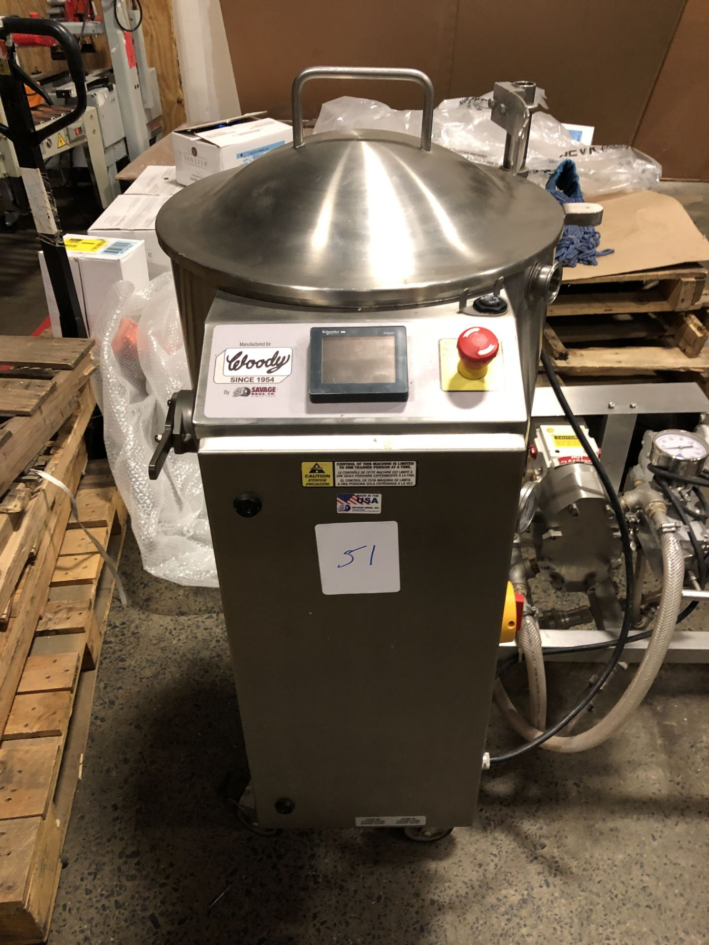 Lot 45 - Savage/Woody 125 lb Stainless Steel Chocolate Melter with Touchscreen controls, jacketed and