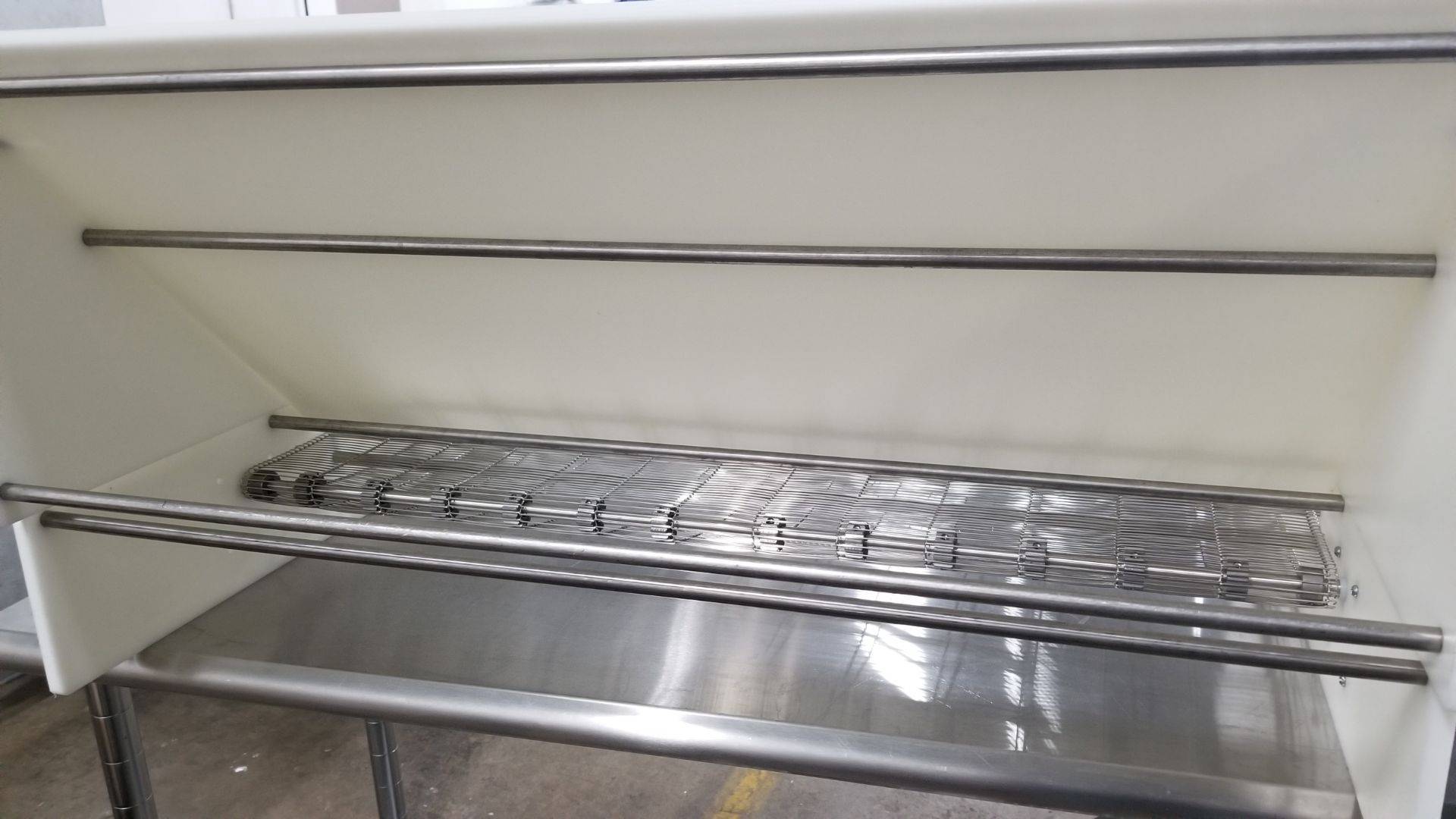 """Lot 17 - Cooling Tunnel with 36"""" wide Custom Made Stringing/Decorating Device with extra tubes. 36"""" wide"""