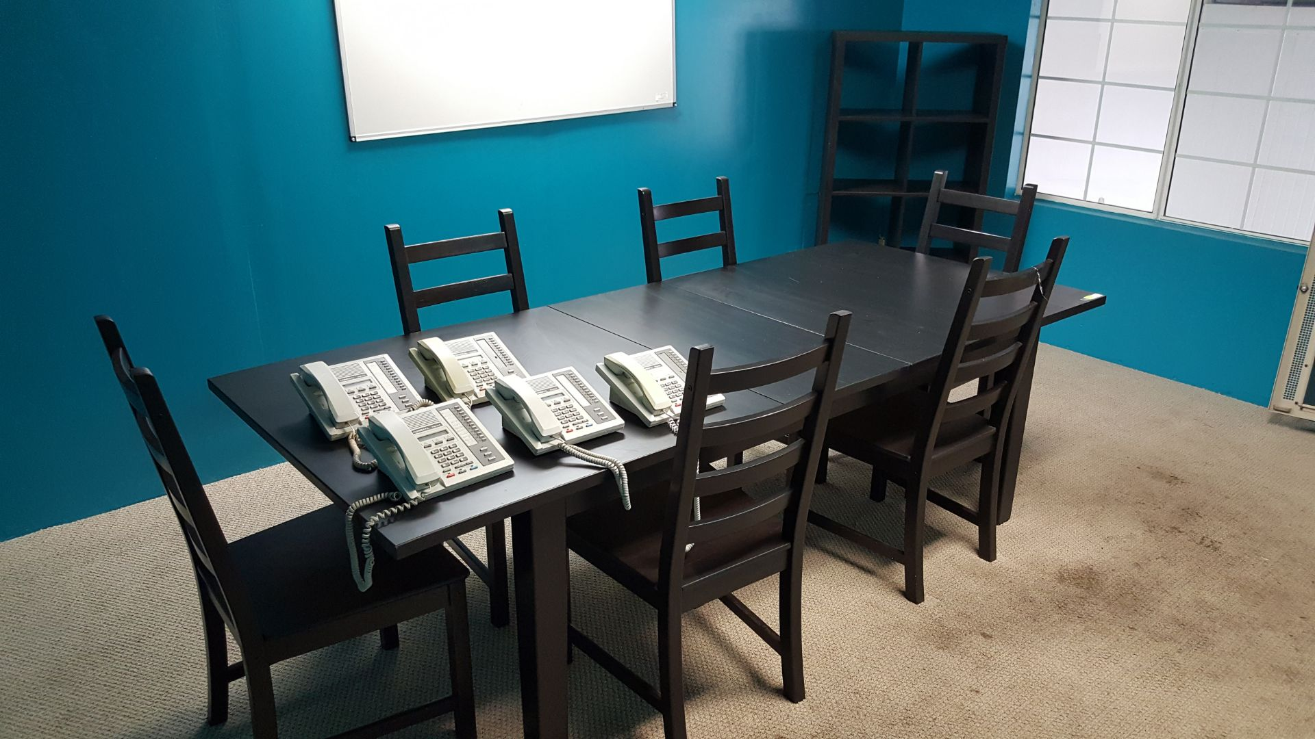 Lot 172 - CONFERANCE TABLE SET & SHELF