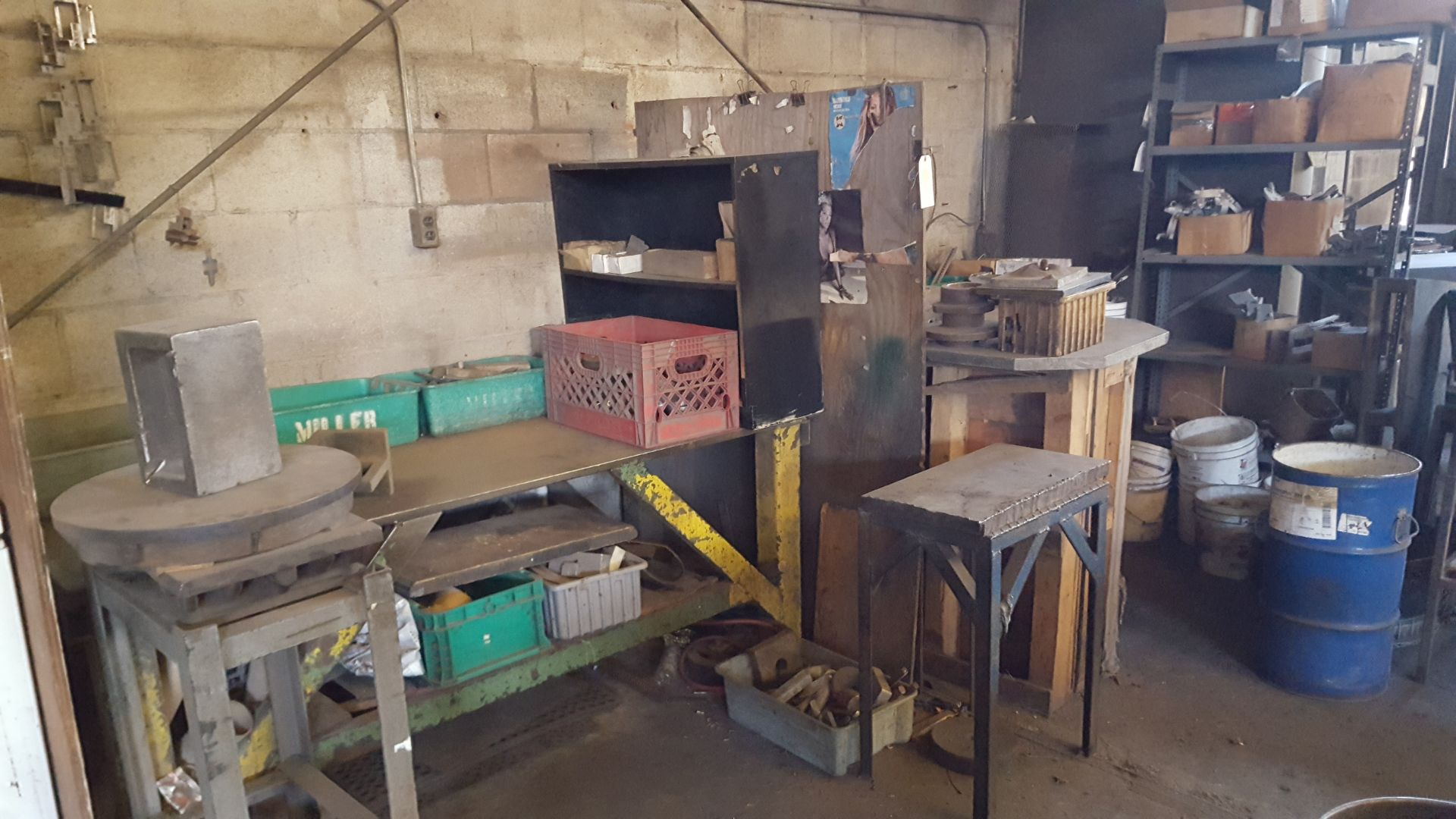 Lot 54 - SHELF AND TABLES WITH PARTS