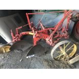 Lot 57 - Oliver Plow Master PT 2 Bottom Plow, Steel Wheels (red & yellow) Repainted