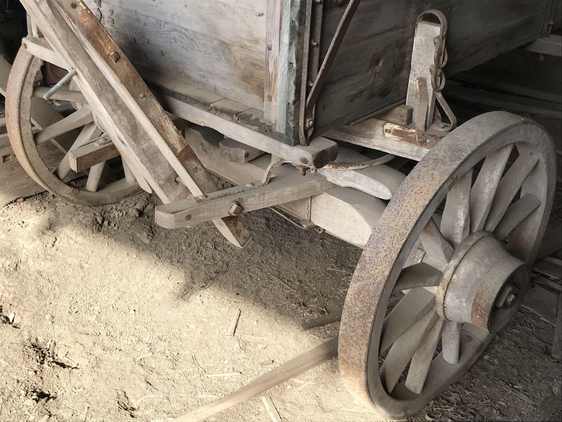 Lot 54a - 4 Wheel Wood Wagon w/Side Boards, Good Wheels, (shedded)