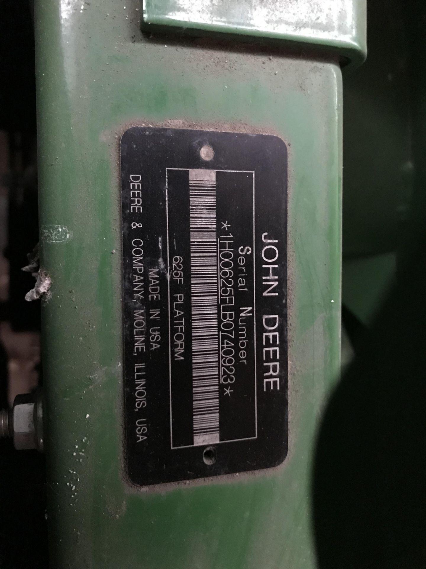 Lot 4 - 2011 JD 625F Hydra Flex, S#0740923, Poly, Full Width Fingers, Single Point Hook-up, Stubble &