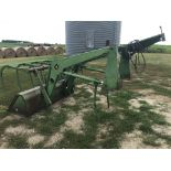 "Lot 18 - JD #148 Loader, 3way Hyd Valve, 7' Bucket, 86"" Bit, Side Scrapers w/4 Tine Grapple Fork, Quick"