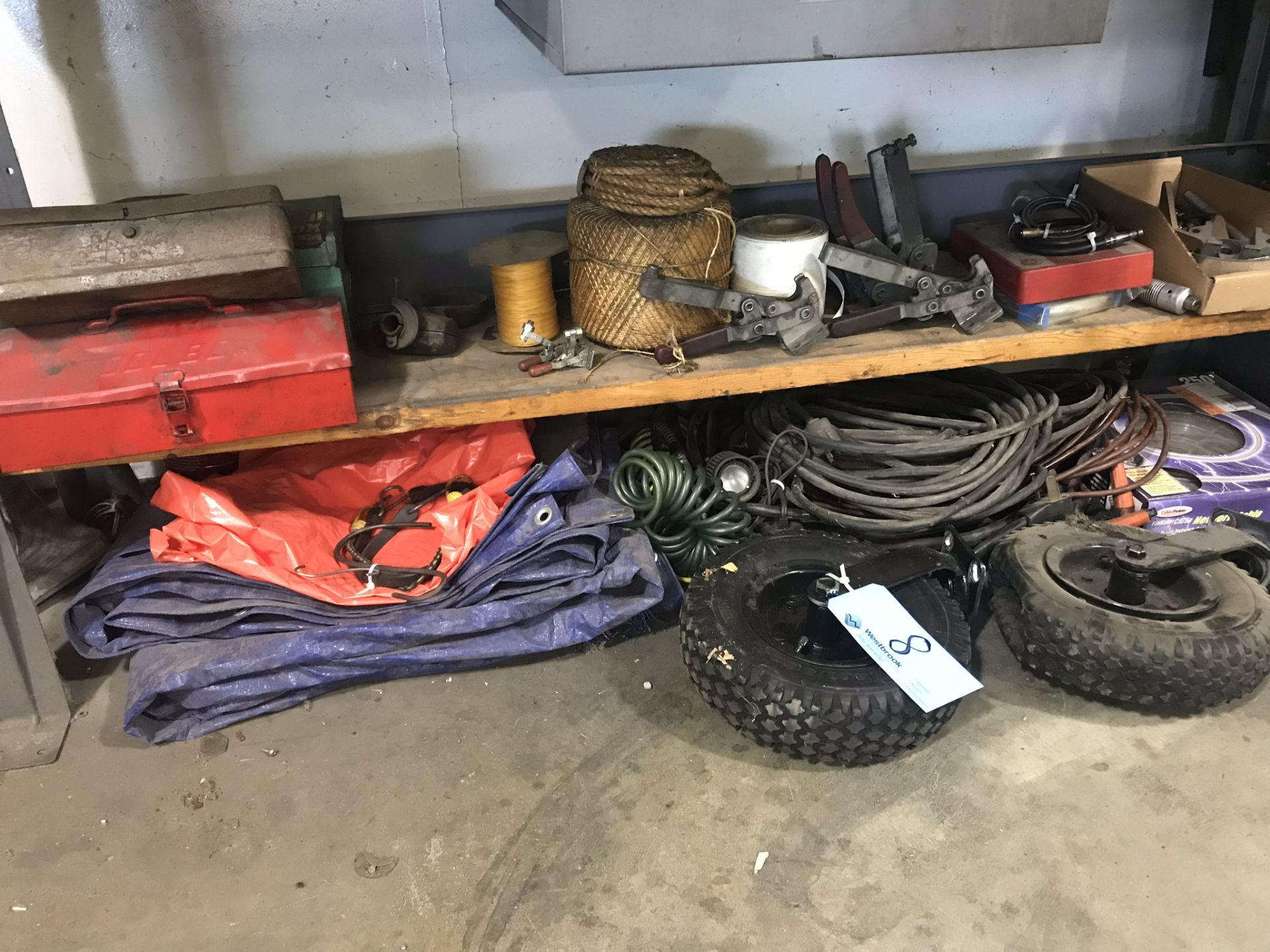 Lot 8 - Lot-Tool Boxes, Rope, Electrical Cords, Tarps, Wheels, Fan, Light,