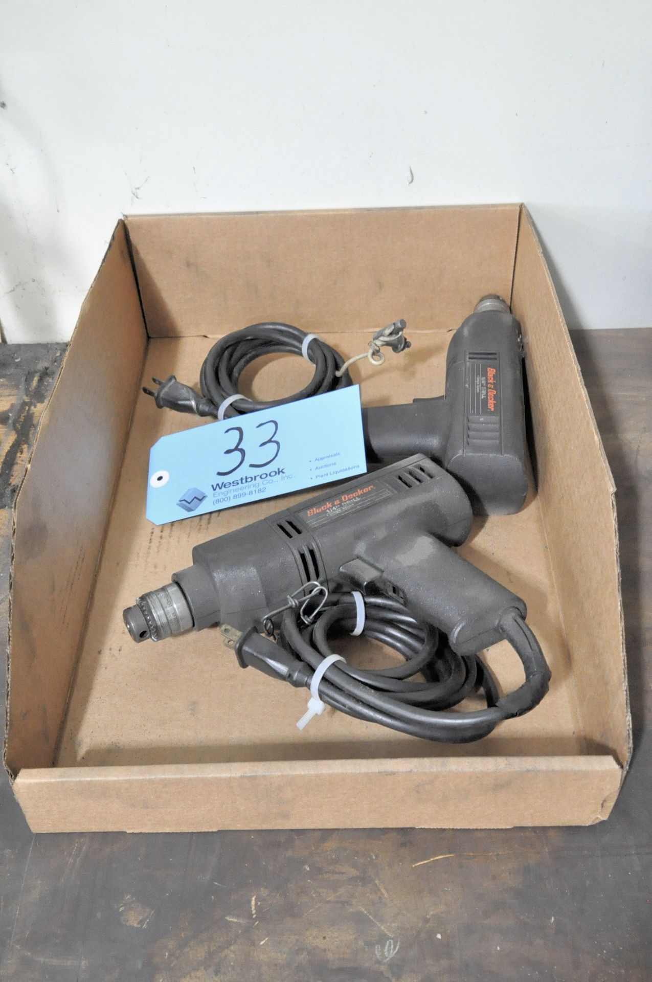 """Lot 33 - Lot-(2) BLACK & DECKER 1/4"""" Electric Drills in (1) Box"""