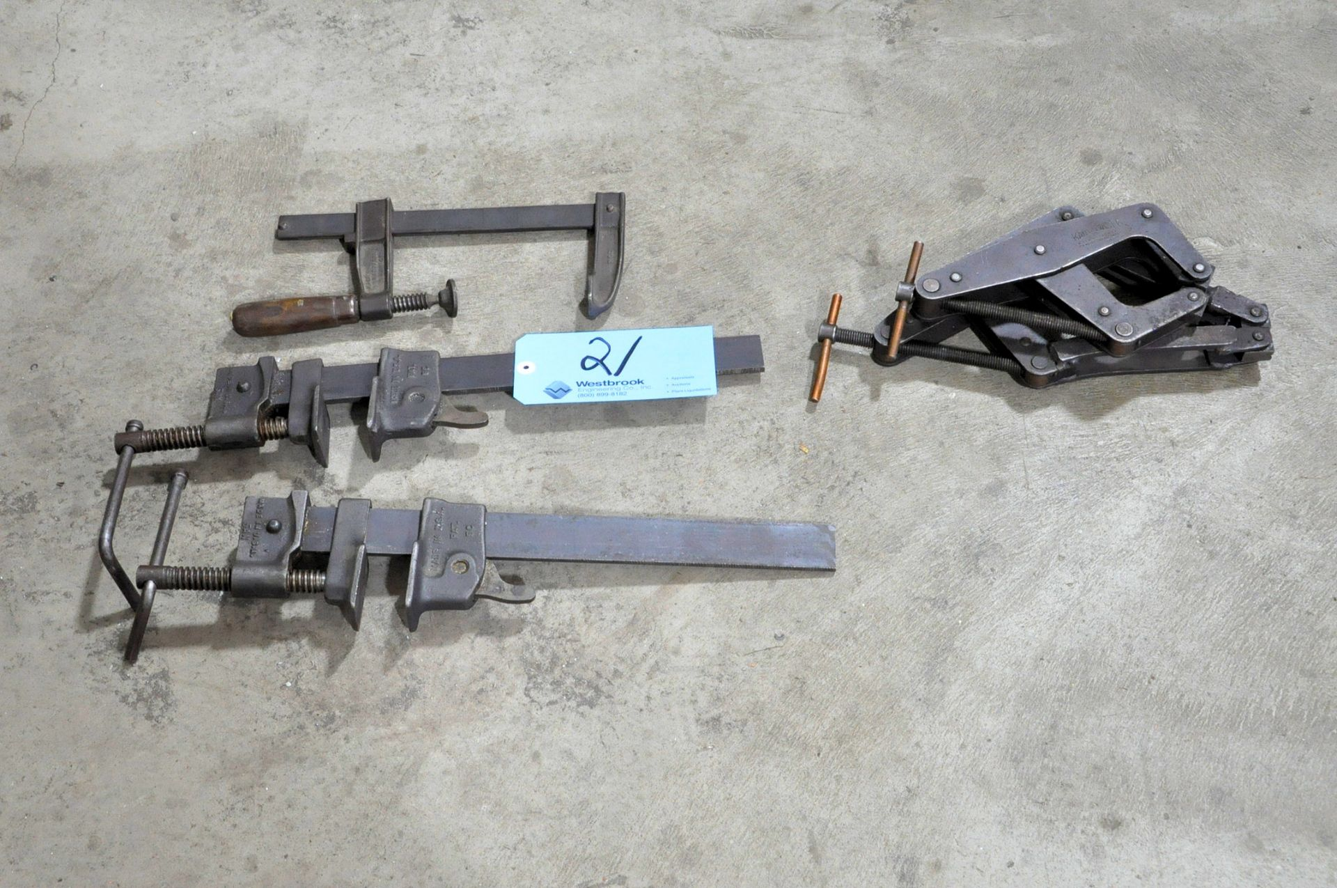 Lot 21 - Lot-(3) Bar Clamps with (2) Kant Twist Clamps