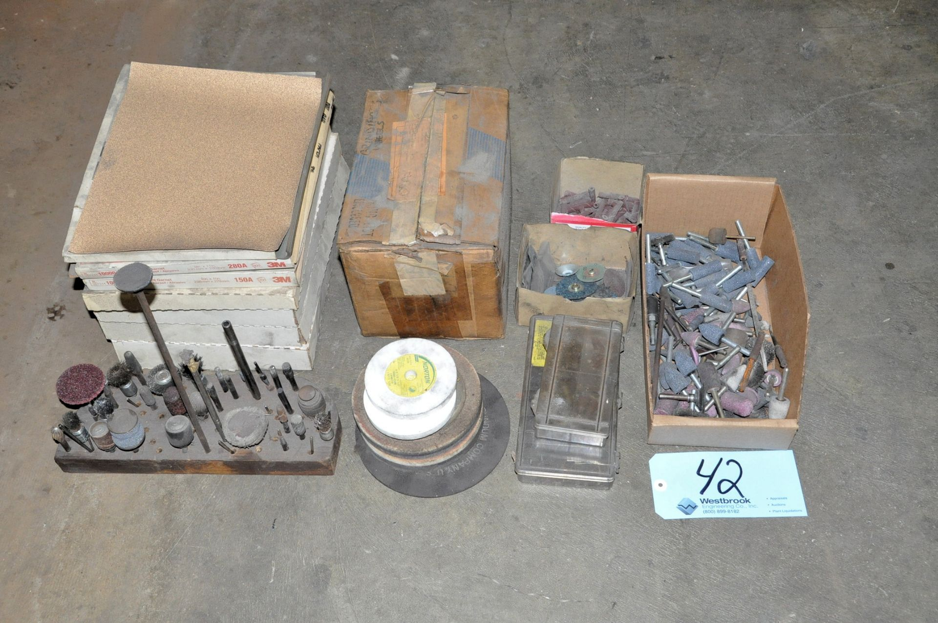 Lot 42 - Lot-Grinding Wheels with Arbors and Sand Paper on (1) Shelf