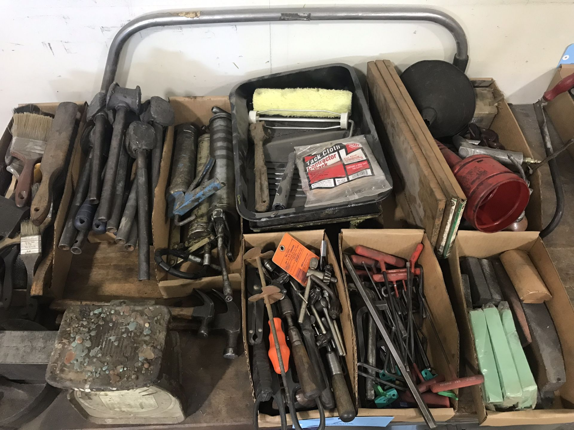 Lot 7 - Lot-Assorted Hand Tools in (7) Boxes with Paint Trays, Saw and