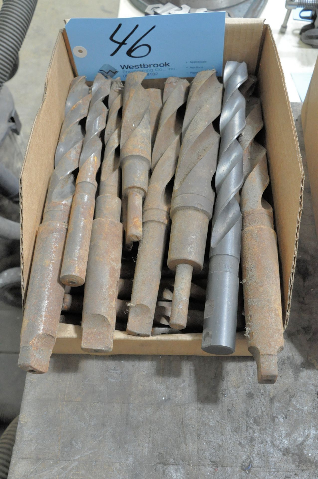Lot 46 - Lot-Large Tapered and Straight Shank Drills in (1) Box
