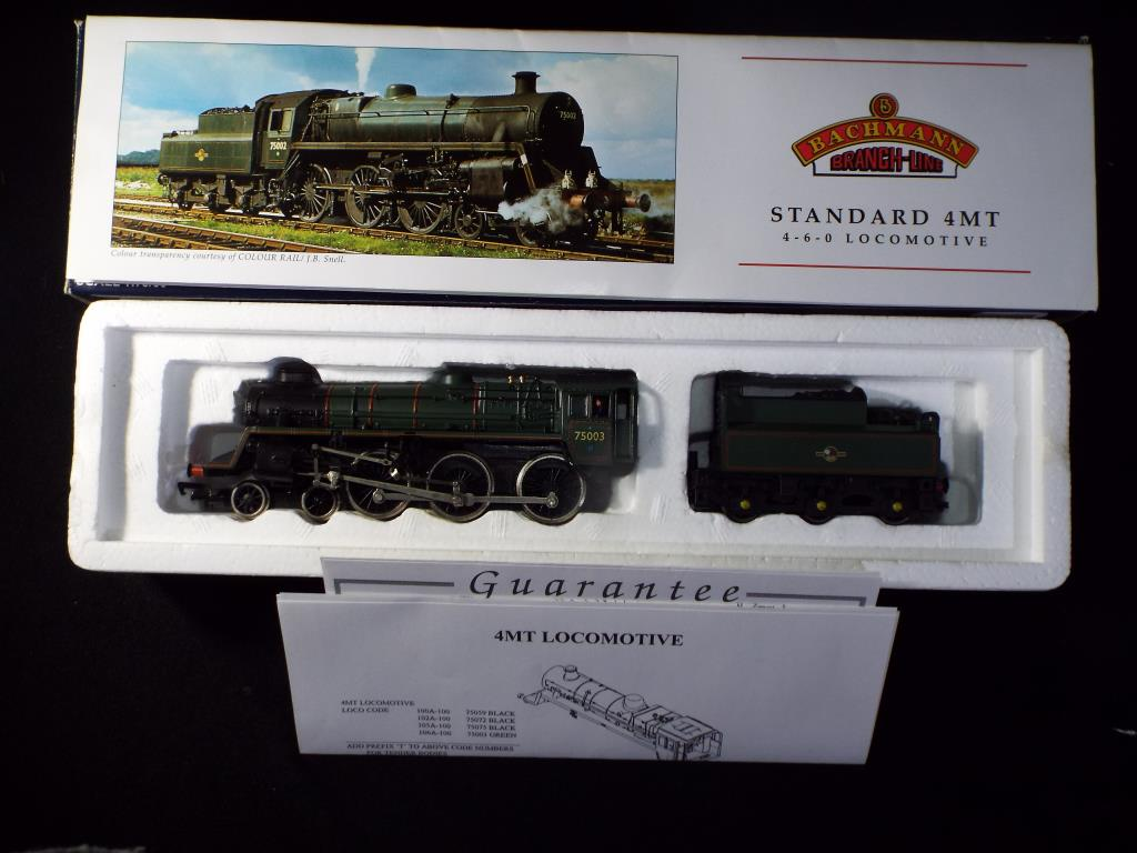 Lot 45 - Bachmann - A boxed OO Gauge No.31-106A Standard 4MT 4-6-0 Steam Locomotive and Tender. Op.No.