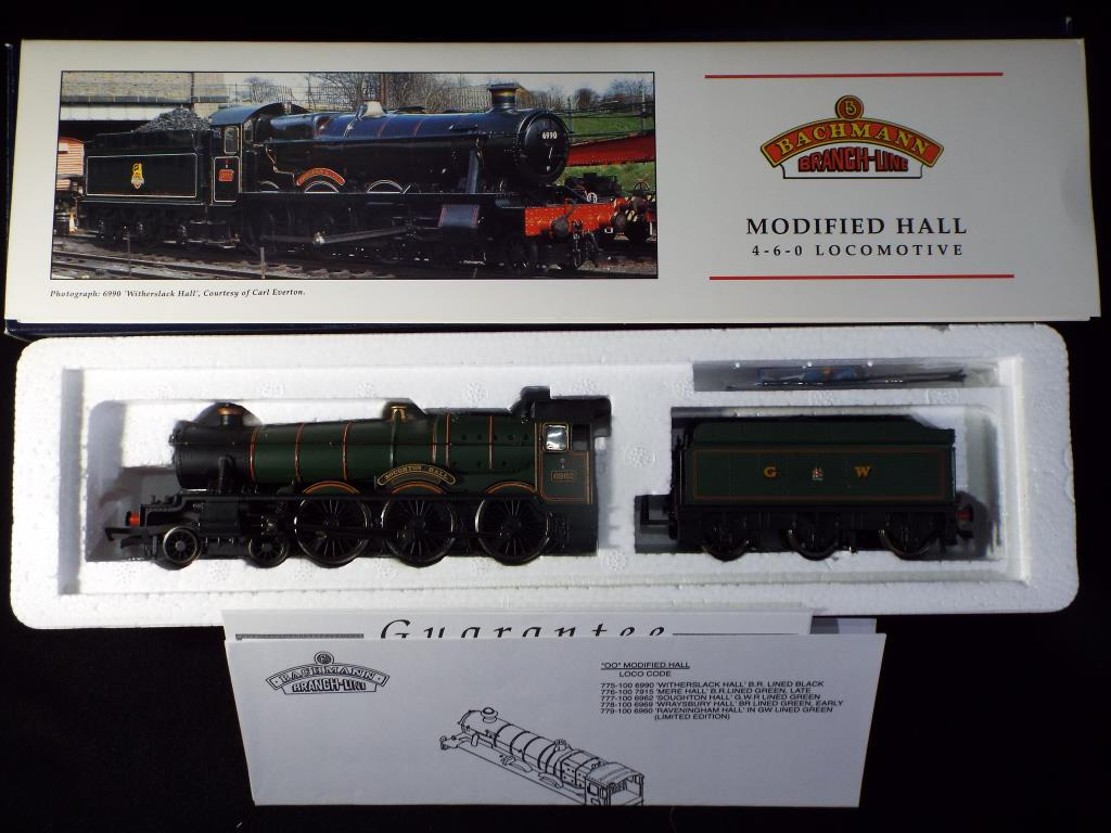 Lot 39 - Bachmann - A boxed OO Gauge No.31-777 Modified Hall 4-6-0 Steam Locomotive and Tender. Op.No.