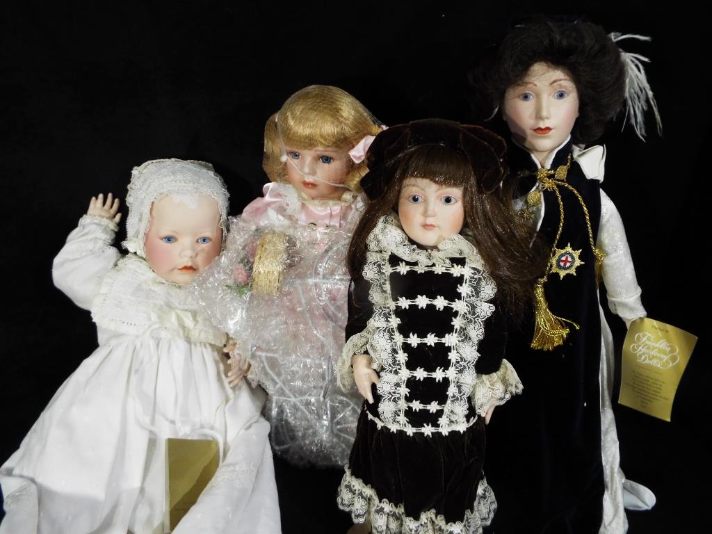 Lot 57 - Dolls - a collection of good quality dressed dolls to include Franklin Mint, Heirloom baby doll,