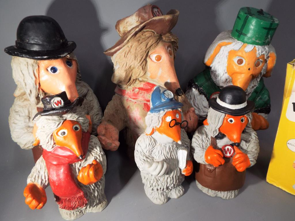 Lot 11 - Wombles - a collection of six hard plastic Wombles, featuring Wellington, Uncle Bulgaria, Orinoco,