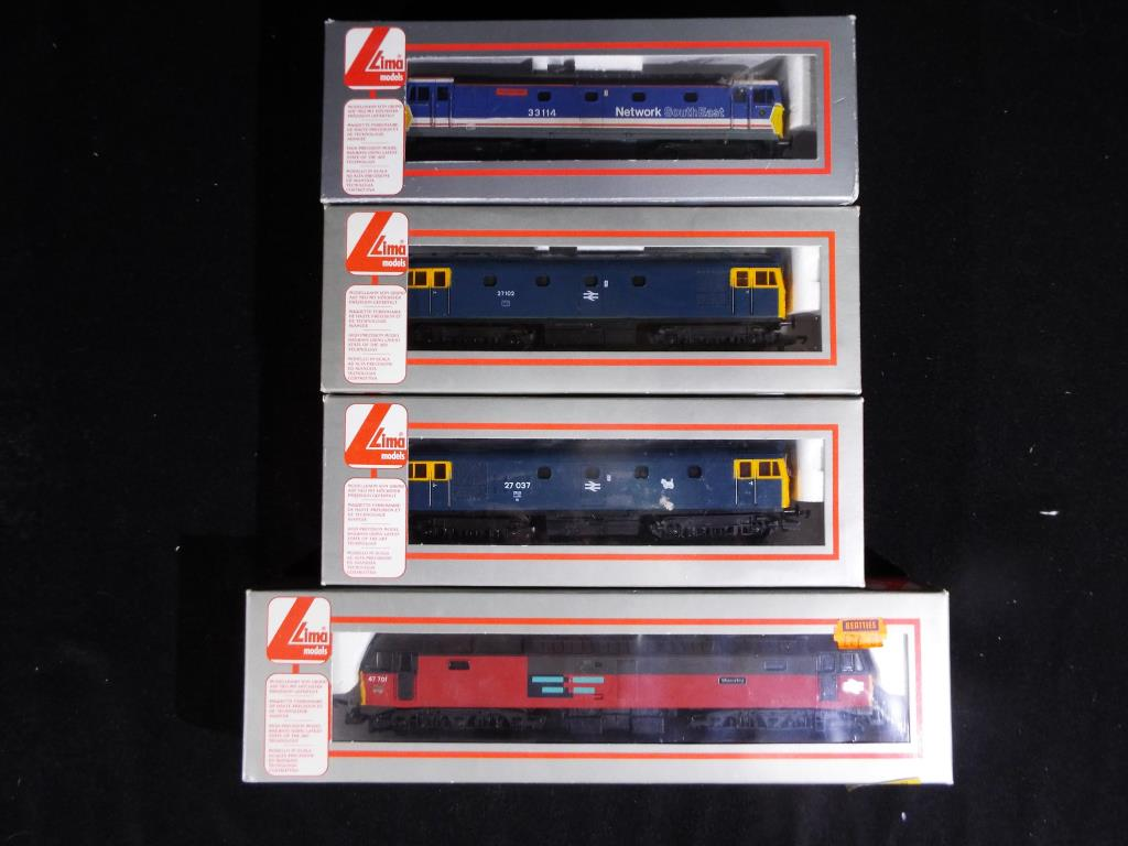 Lot 3 - Model Railways - four Lima OO gauge diesel locomotives to include Network South East op. no.