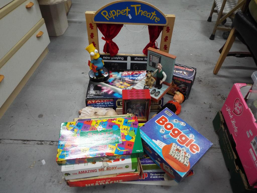 Lot 50 - Toys and Games - a good mixed lot of toys and games to include wooden puppet theatre with three