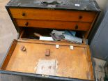 Lot 62 - A Victorian fitted carpentry tool chest with interior drawers and a large assortment of carpentry