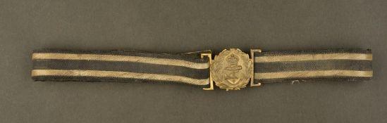 Ceinturon de grande tenue d'officier de la marine Royale italienneComplet, liseré or sur fond bleu/