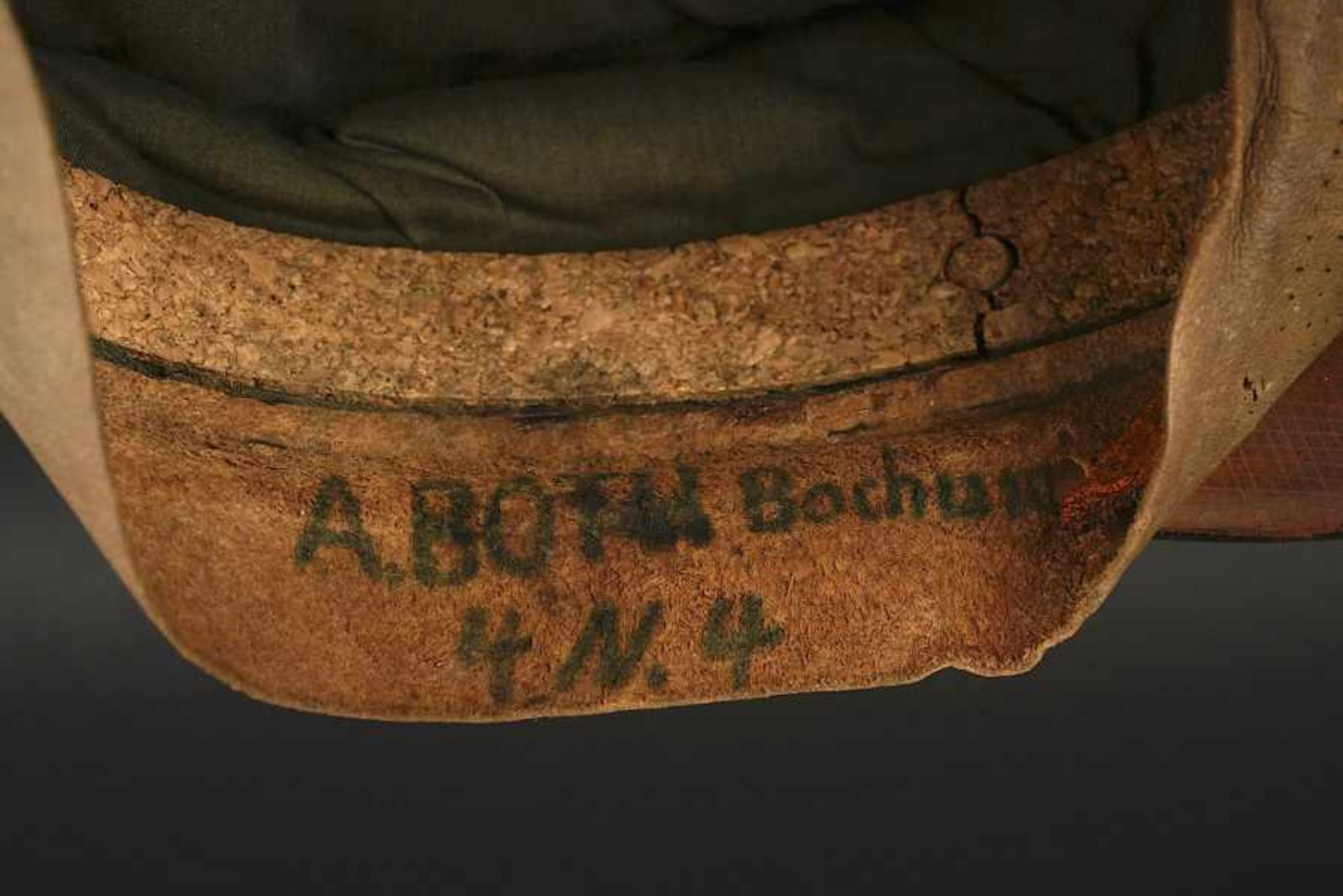 Casquette SS d'Armin Both. SS Cap belonging to Armin Both En gabardine Feldgrau, bandeau en - Bild 3 aus 4