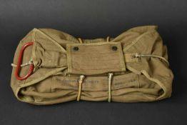 Housse de parachute ventrale de Oscar Prasse du HQ Company du premier bataillon du 508th PIR de la