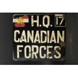 Panneau de l'Etat Major du Général Simonds commandant du 2nd canadian Corps. Staff HQ Panel ,
