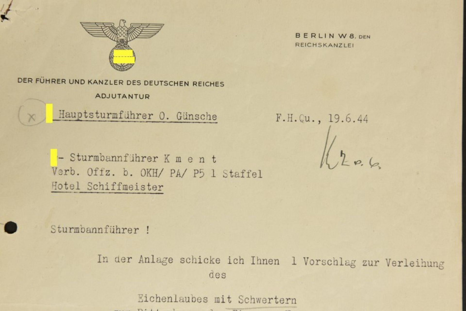 Los 31 - Mickael Wittmann Courrier envoyé par Otto Günsche, adjudant d'Adolf Hitler pour la SS. Daté du 19