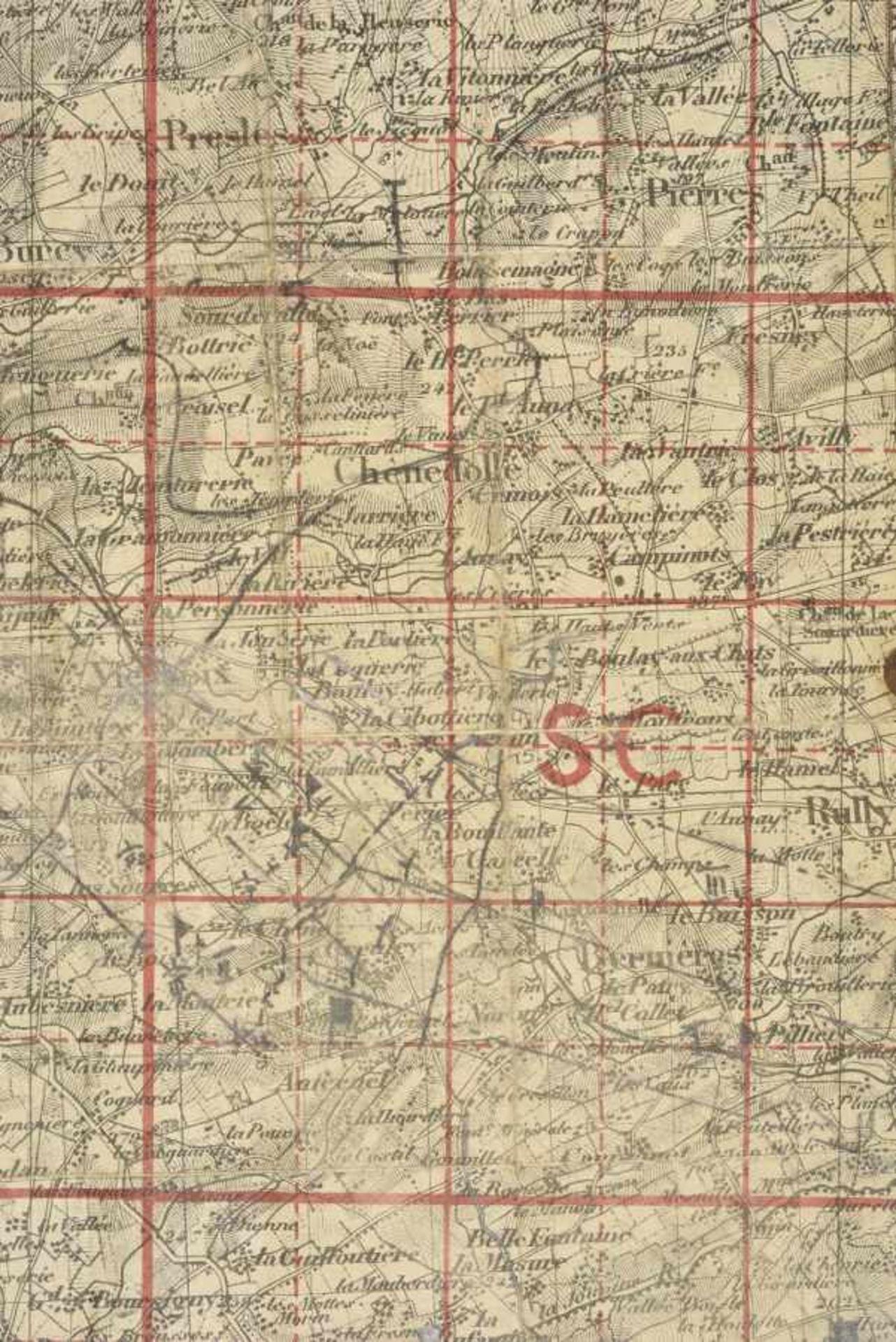 Carte d'Etat Major du secteur de Chênedollé, lieu d'un important combat de blindés entre Willy Fey - Bild 3 aus 4