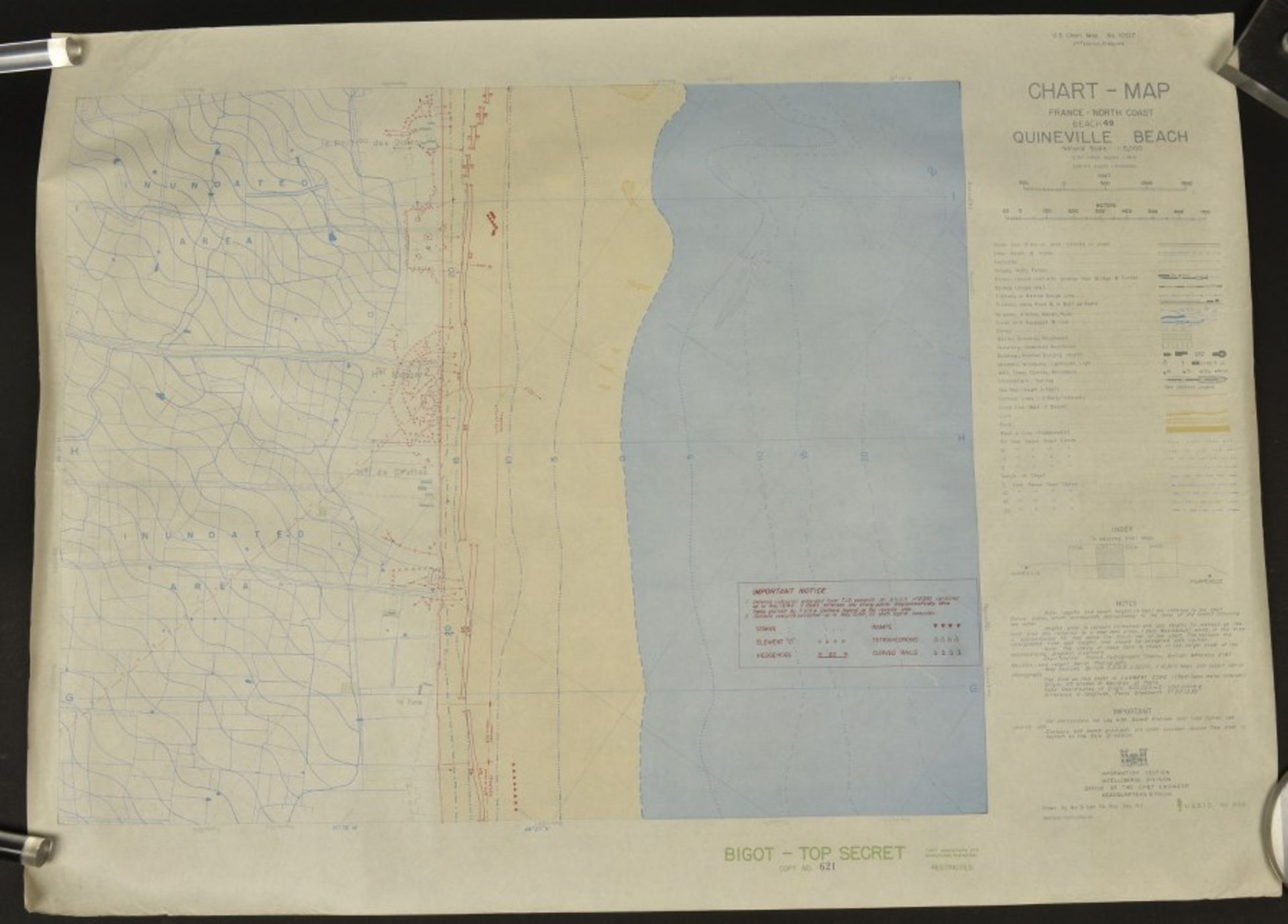 Carte Bigot Top Secret du secteur de débarquement d'Utah Beach. Top Secret Bigot Map of the landings