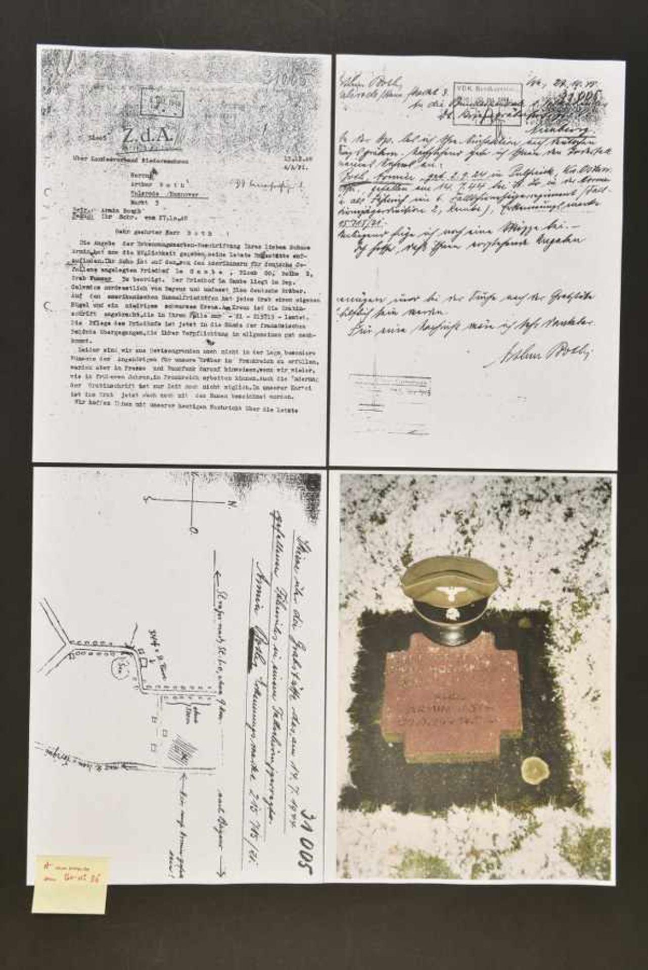 Casquette SS d'Armin Both. SS Cap belonging to Armin Both En gabardine Feldgrau, bandeau en - Bild 4 aus 4