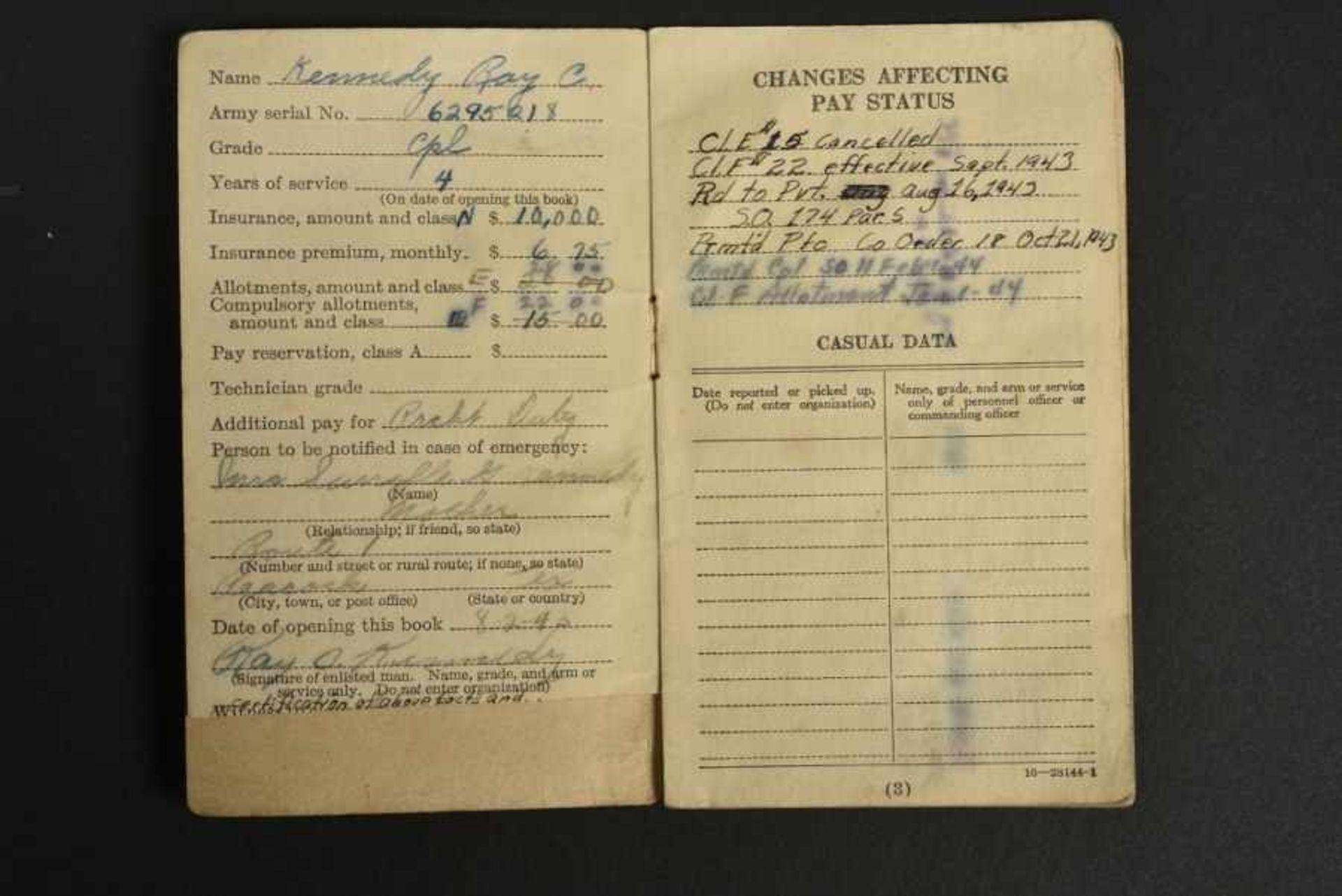 Portefeuille de Ray Kennedy Compagnie E du 507th PIR de la 82ème Airborne. Pocket book belonging - Bild 2 aus 4