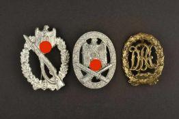 Ensemble de décorations allemandeComprenant un insigne d'infanterie, complet, marquage fabricant