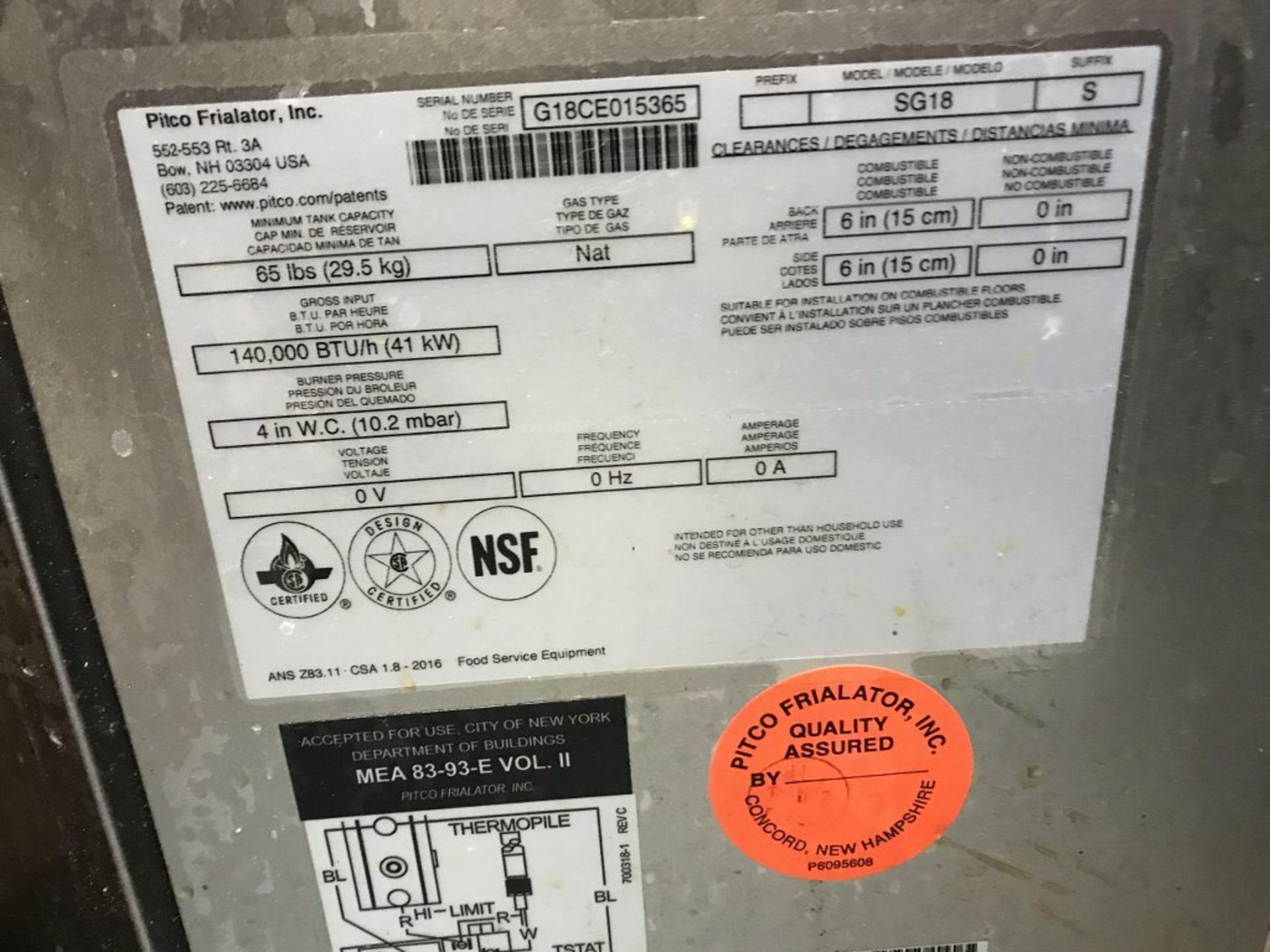 "Lot 28 - PITCO - GAS FLOOR FRYER. MODEL # SG18. 20""L X 34""W X 47""H"