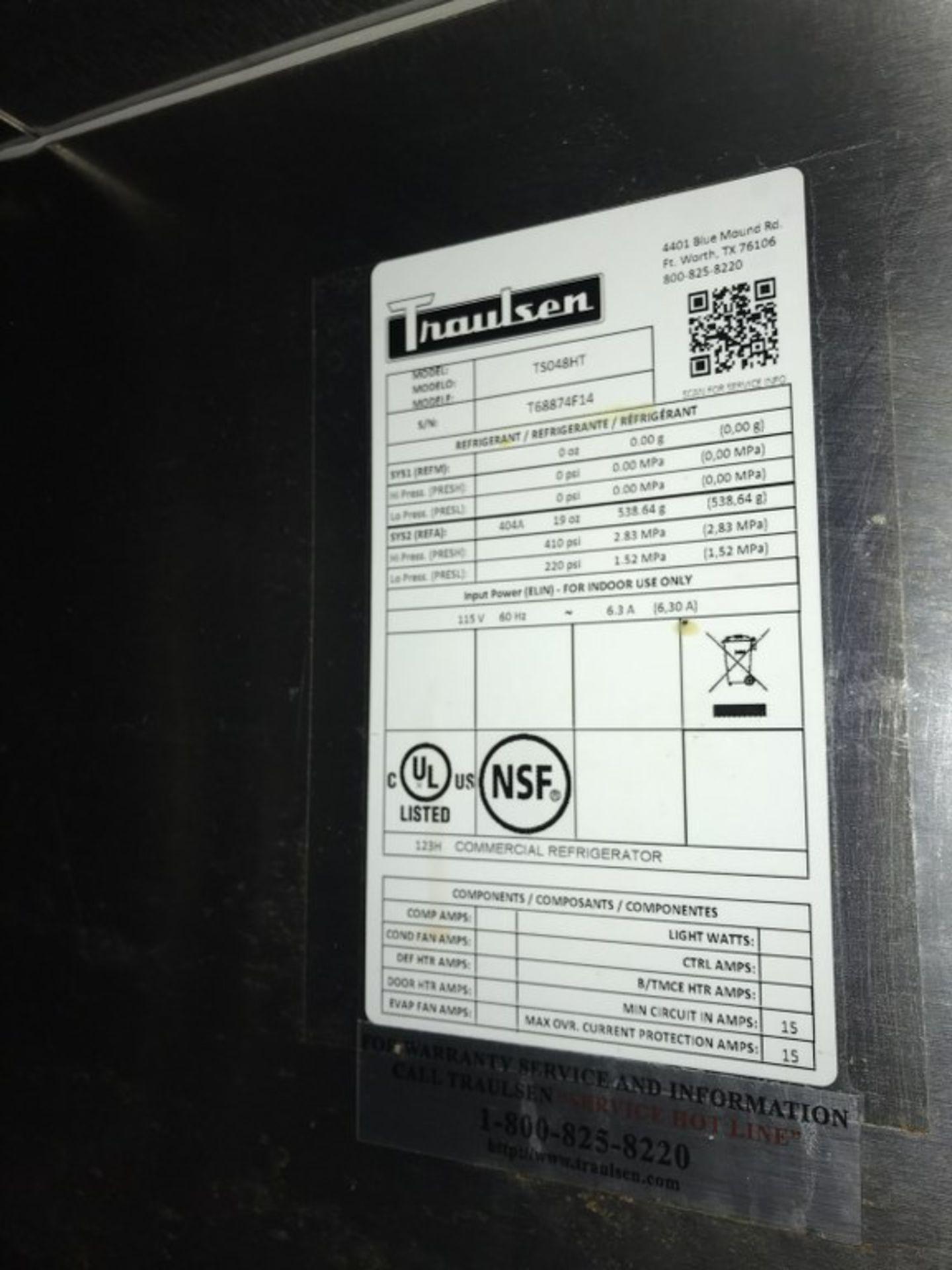 "Lot 37 - TRAULSEN - 48"" SALAD/PIZZA PREP REFRIGERATOR WITH 1-DOOR. MODEL # TS048HT. 48""L X 34""W X 49""H"