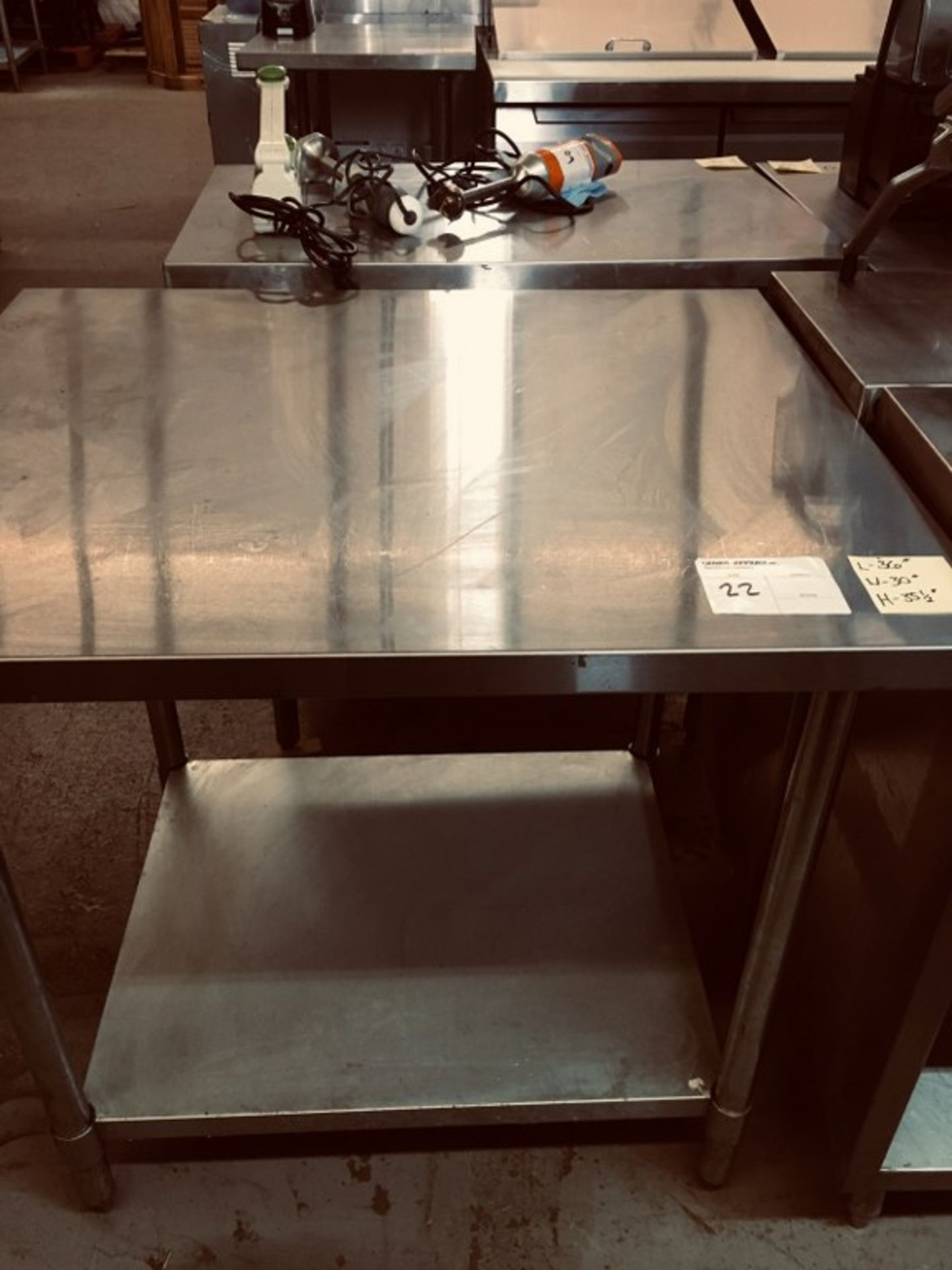 """Lot 22 - STAINLESS STEEL TABLE - 36"""" X 30""""W X 35.5""""H"""