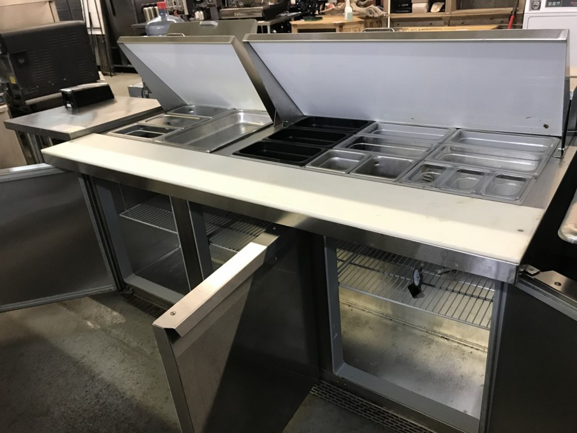 """Lot 10 - CONTINENTAL - 3-DOOR REFRIGERATED 72"""" MIGHTY TOP SALAD/SANDWICH PREP TABLE. MODEL # SW72-30M"""