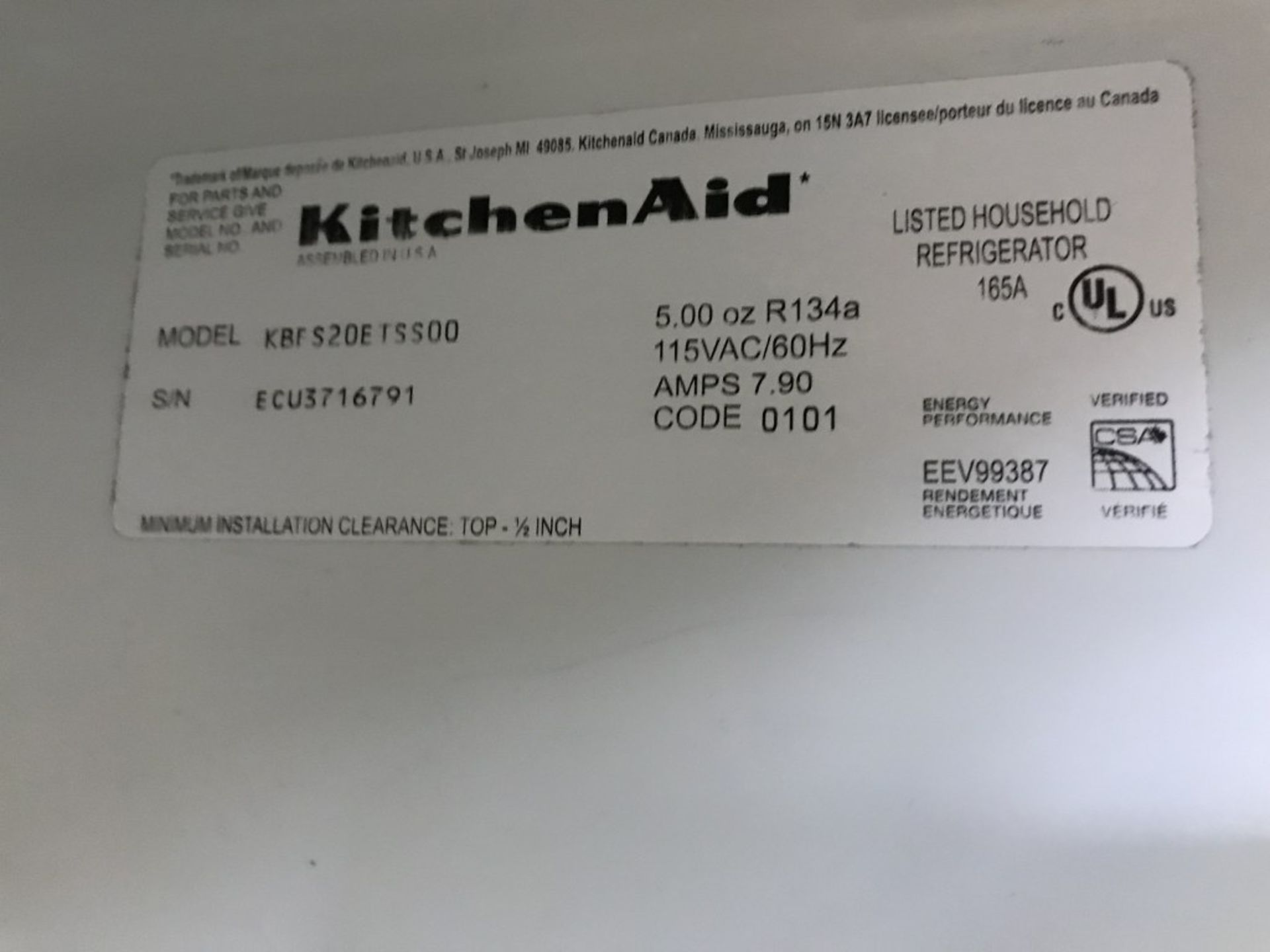 Lot 57 - KITCHENAID - BOTTOM MOUNT REFRIGERATOR. MODEL # KBFS20ETSS00