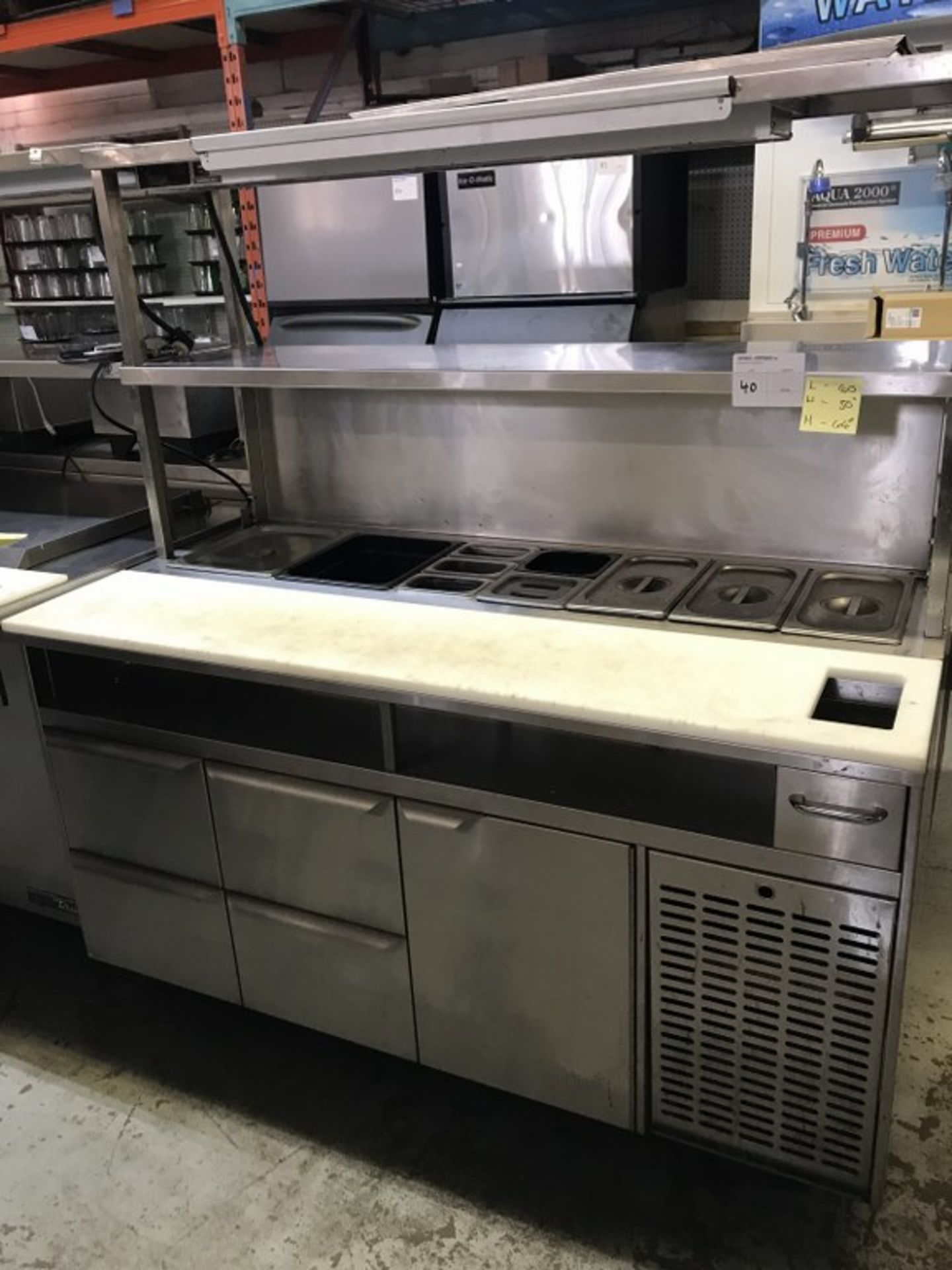 """Lot 40 - QUEST - MULTI-DRAWER SALAD/SANDWICH PREP TABLE WITH HATCO GLO-RAY FOODWARMER. MODEL # ST-60-SC. 60""""L"""
