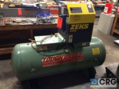 Gardner Denver horizontal air tank, 120 gallon estimated capacity, with Zues model 36HSFA190, serial