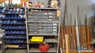 Lot of assorted parts and accessories ,metal stock.hardware, tubing, shim, shelving etc, contents of