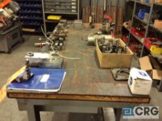 Lot of assorted machine tools and tool room accessories etcetera, contents of bench top, exuding two