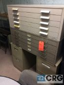 Lot of two assorted 5 drawer metal blueprint file cabinets.