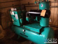 Palletek rotary Screw air compressor, model 15DR, serial 99L003, 15 HP, 3 phase, 120+/- gallon tank,