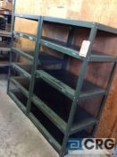 Lot of assorted adjustable metal shelving, 14 assorted sections.
